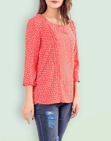 Casual Printed Orange Cotton Top