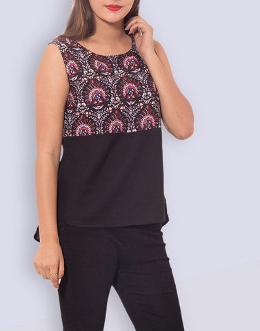 Casual Printed Black Rayon Top