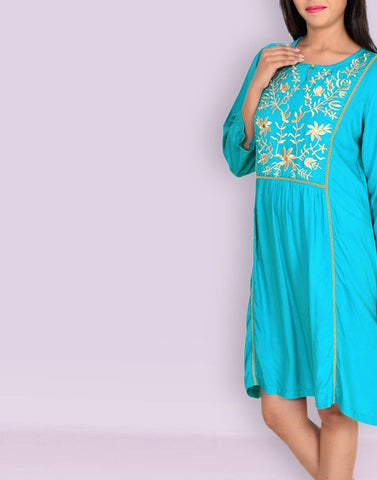 Casual Solid Turquoise Rayon Tunic
