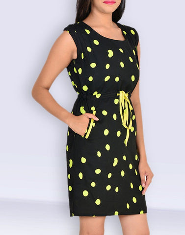 Casual Printed Sleeveless Black Poly-Crepe Dress