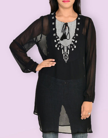 Casual Solid Full Sleeve Black Georgette Tunic