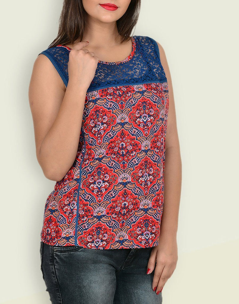 Women's Floral Print Red Rayon Top