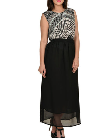 Casual Printed Black Maxi Dress