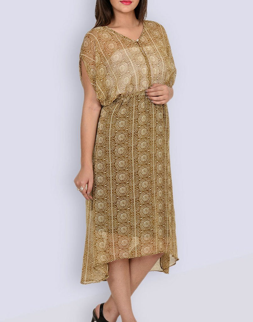 Women's Mustard Geometric Print Fit & Flair Dress