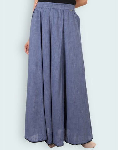 Casual Rayon Crepe Solid Skirt
