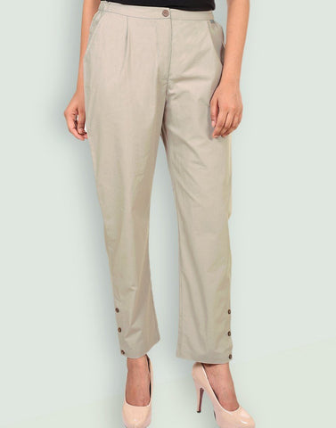 Casual Poplin Solid Pants
