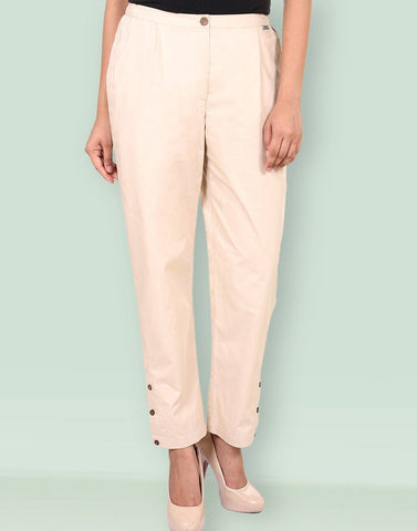 Women's Casual Poplin Solid Pants