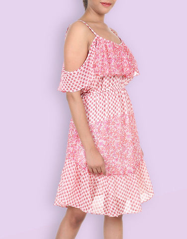 Casual Georgette Printed Pink Dress