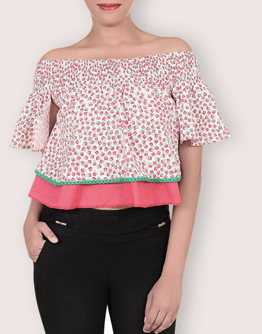 Rayon Floral Print Top