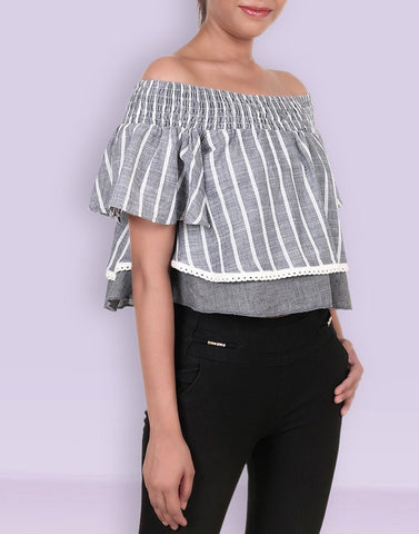 Drop Shoulder Strip Top