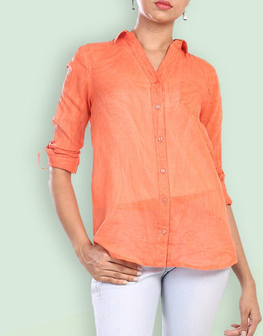 Women's Casual Wear Rolled Up Sleeve Orange Cotton Shirt