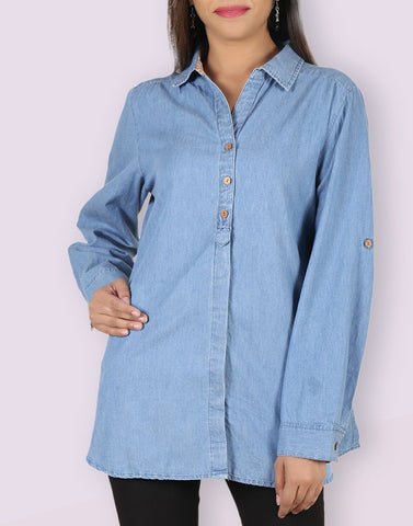 Blue Denim Stylish Shirt