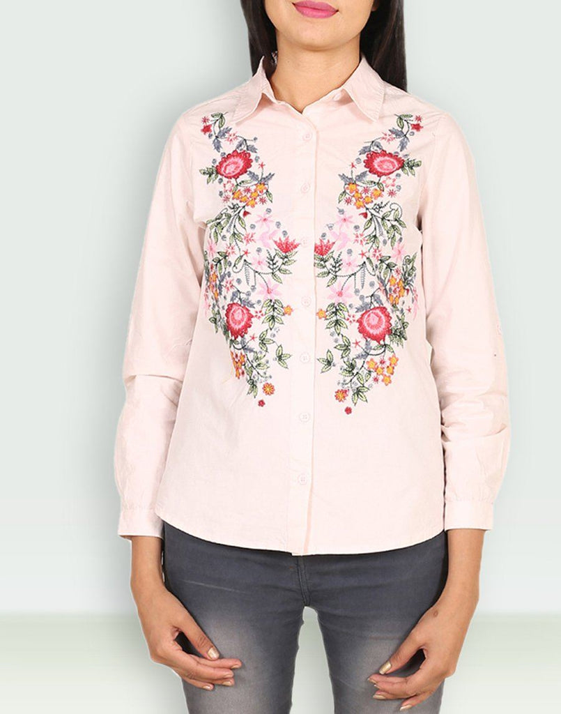 Casual Wear Cotton Pink Shirt