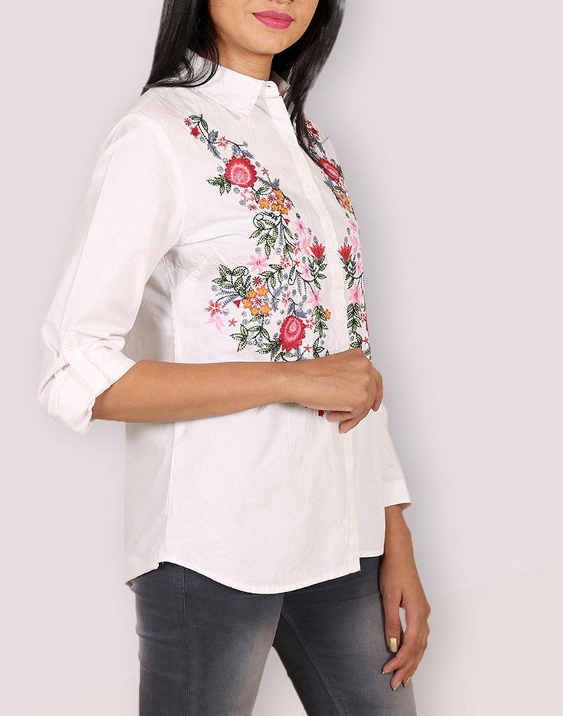 Casual Wear Cotton White Shirt