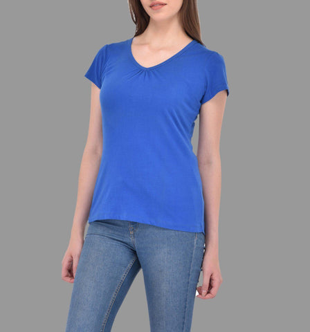 Gathered V-neck Royal Blue Tee