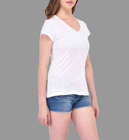 Gathered V-neck White Tee