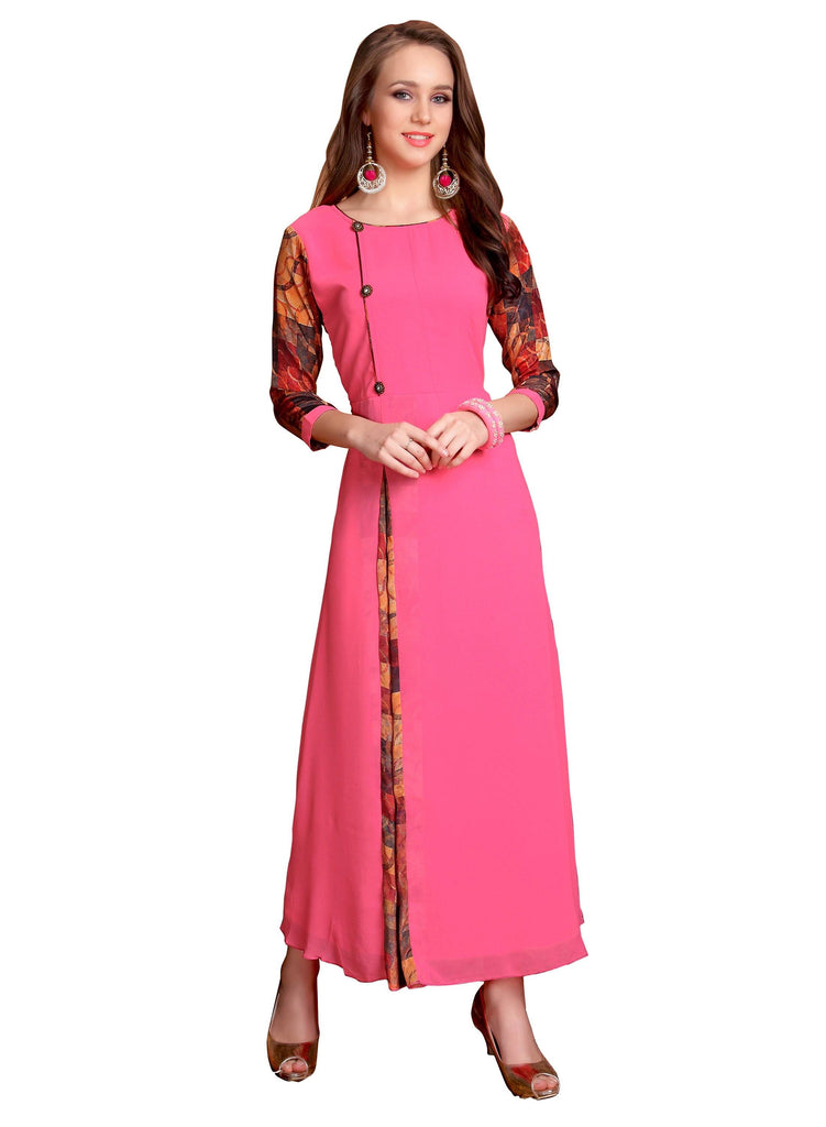Manini Womens Wear Pink Color Ethnic Fashionable Gown Cum Kurtis _ M