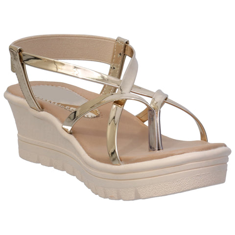 Lency Patent Wedges Sandals Gold