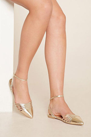 Golden Pointed Toe Ballerina