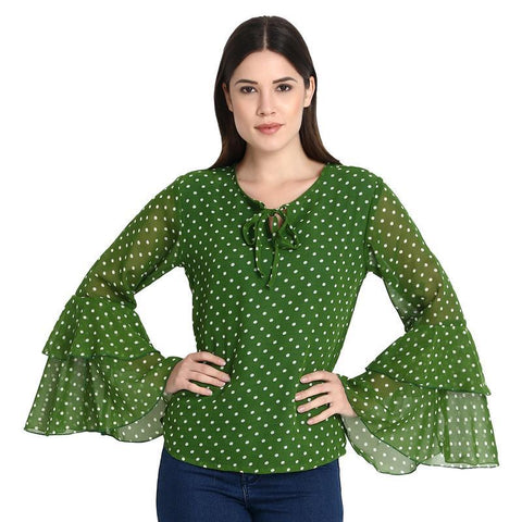 Green With White Dott Bell Sleeves Top