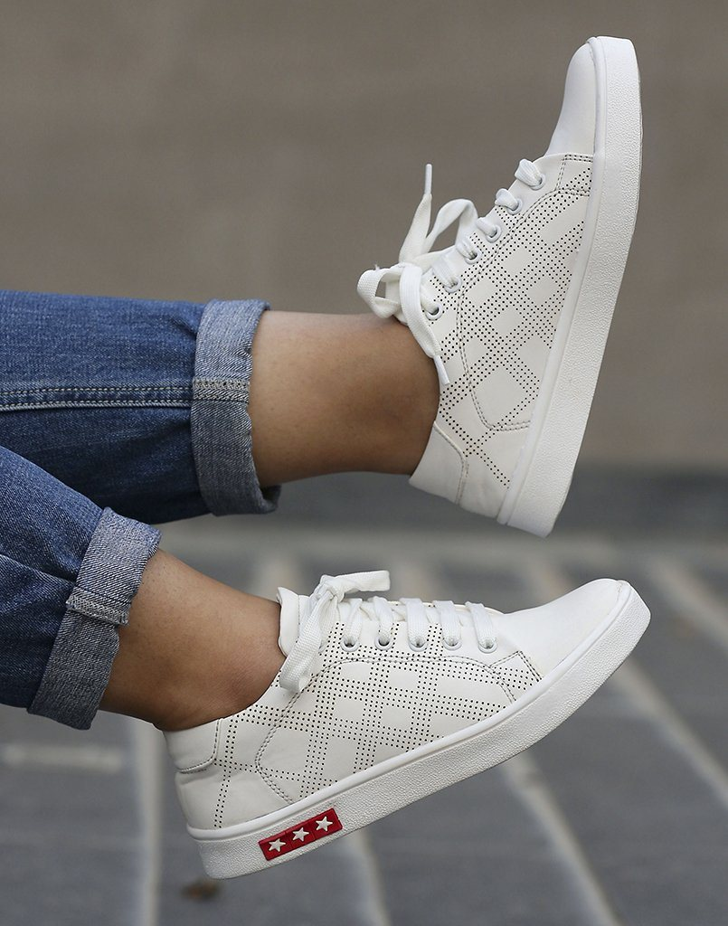 Happy Feet Stylish White Sneakers