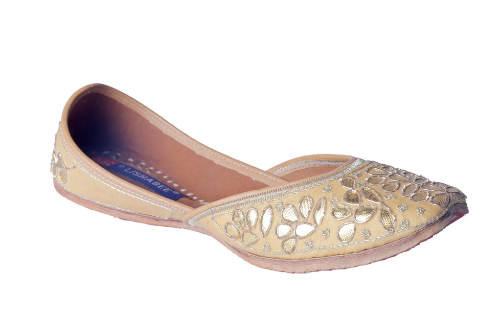 MSC Hand Embroidered Genuine Leather Golden Juttis