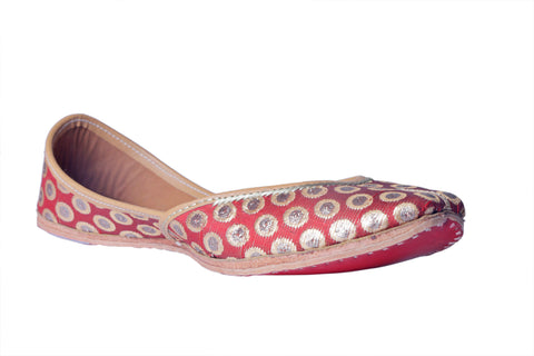MSC Hand Embroidered Genuine Leather Red Juttis