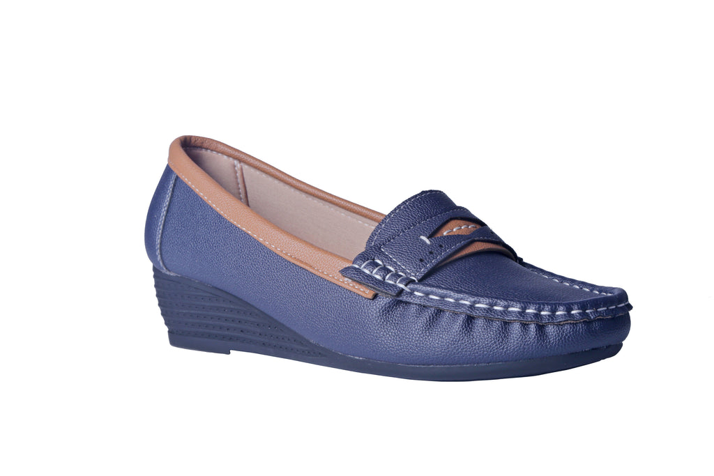 MSC Women Synthetic Navy Loafers & Mocassins