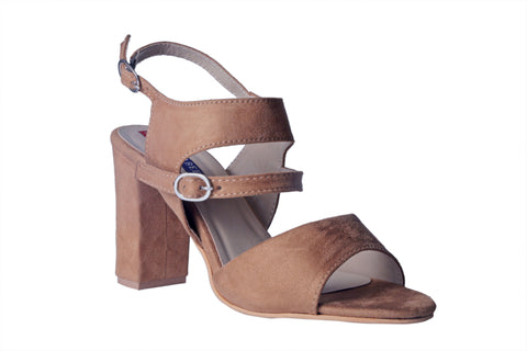 MSC Women Suede Leather Beige Heels