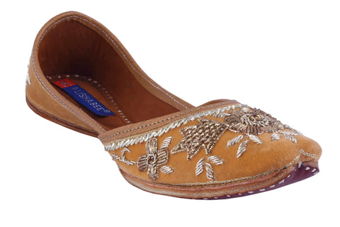 MSC Leather Stylish Fancy Beige Flat Juttis For Women