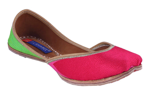 MSC Leather Stylish Fancy Pink Flat Juttis For Women