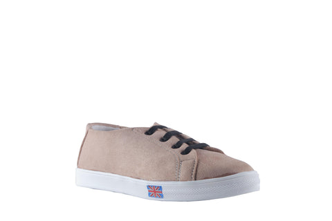 MSC Women Suede Leather Cream Sneakers