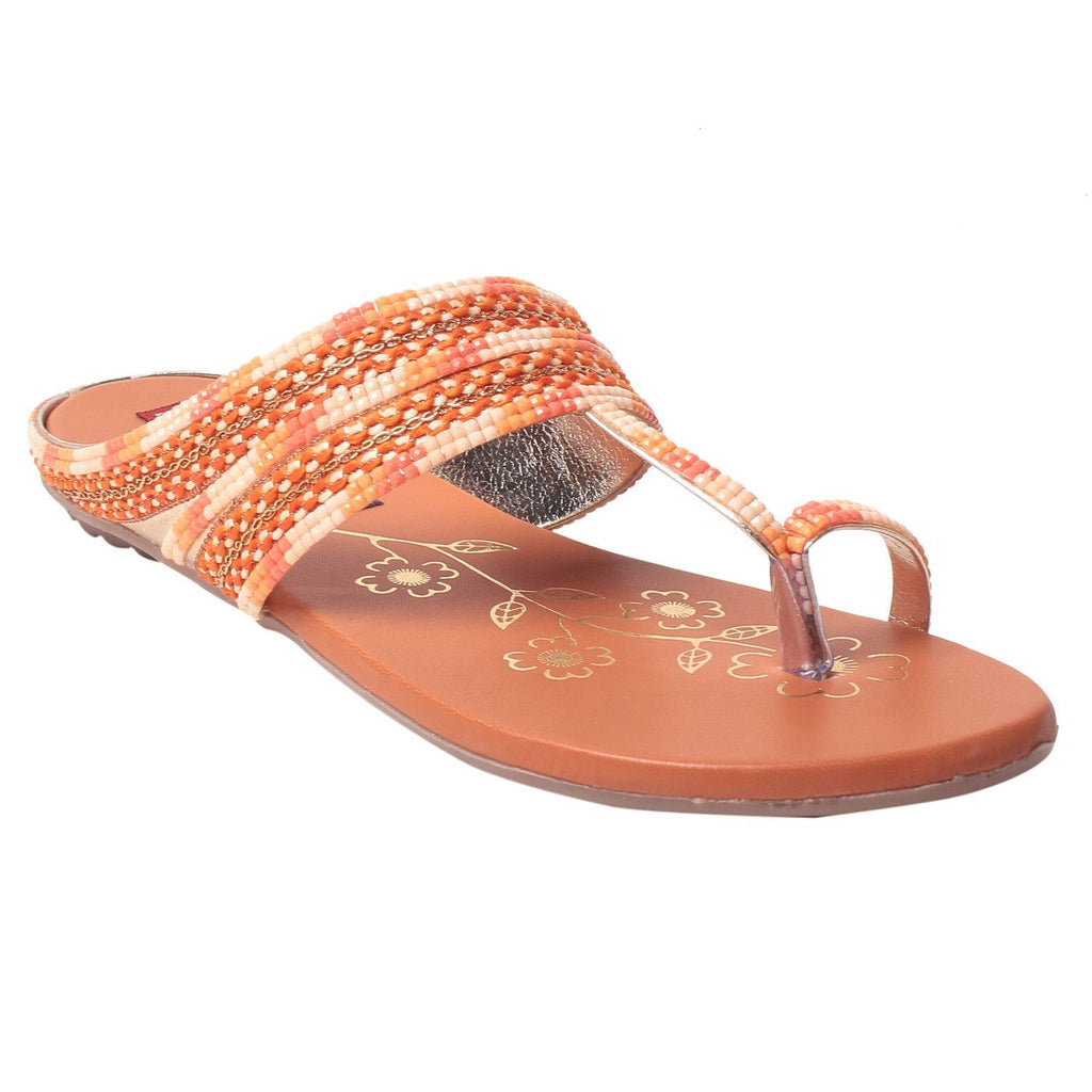 MSC Women Synthetic Orange Flat