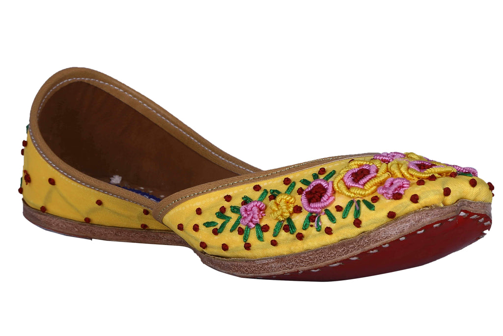 MSC Leather Stylish Fancy Yellow Flat Juttis For Women