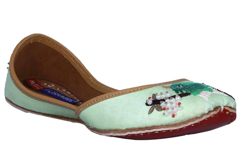 MSC Leather Stylish Fancy Green Flat Juttis For Women