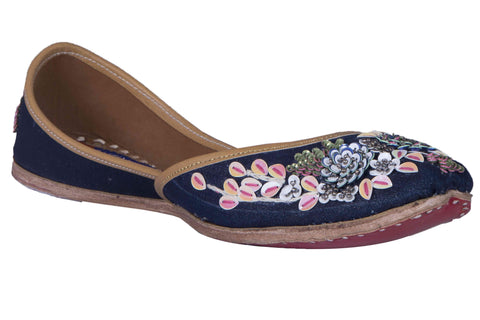 MSC Leather Stylish Fancy Blue Flat Juttis For Women