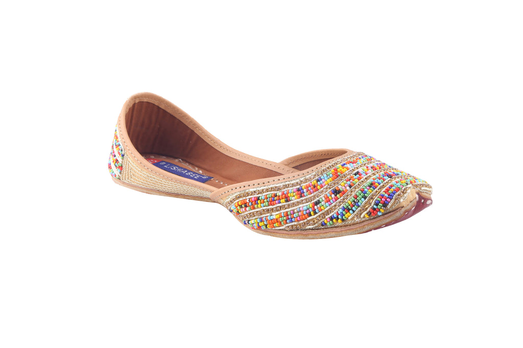 MSC Leather Stylish Fancy Multi Color Flat Juttis For Women