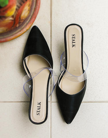 Clear Strap Black Point Heels