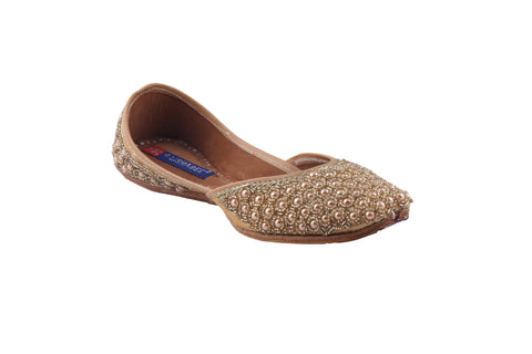 MSC Leather Stylish Fancy Golden Flat Juttis For Women