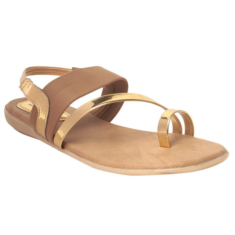 MSC Women Beige Synthetic Sandal