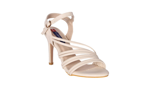 MSC Women Cream Synthetic Heels