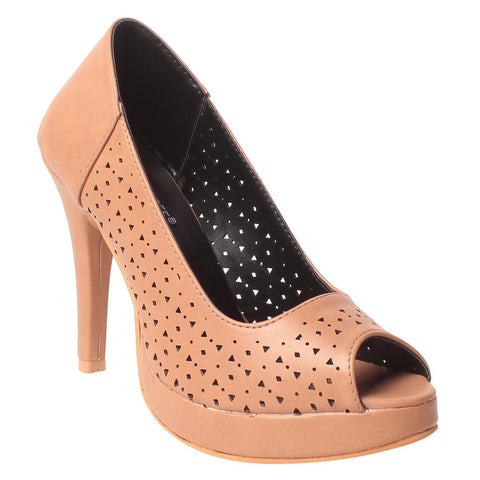 Msc Women Synthetic Beige Heels