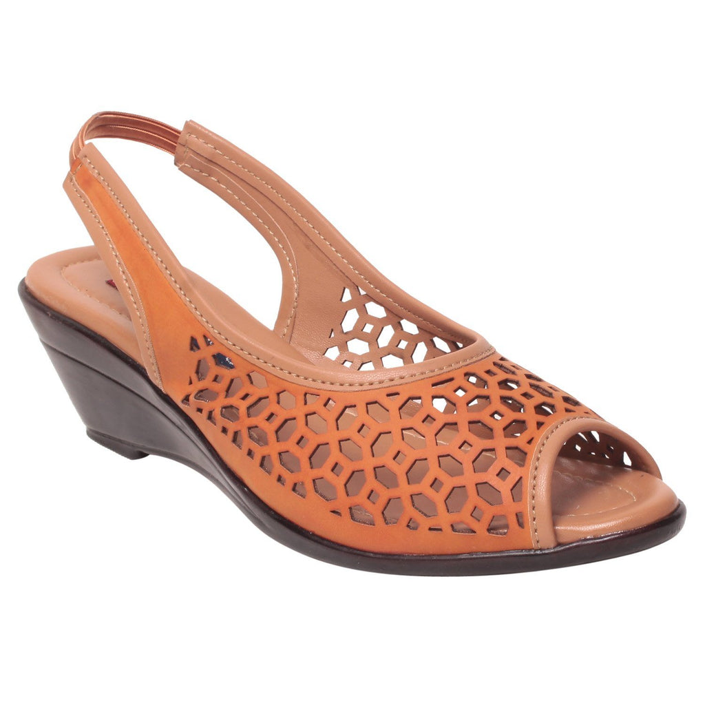 Msc Women Synthetic Peach Heels