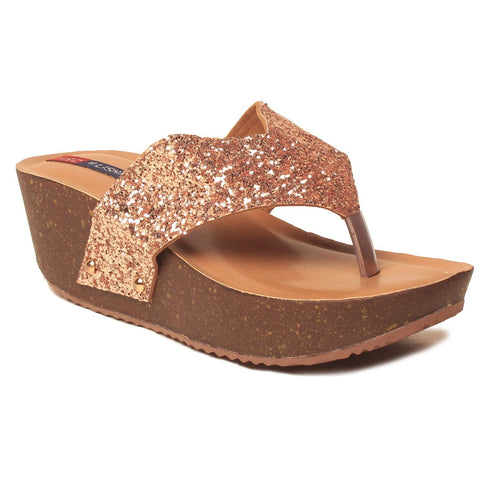 MSC Women Synthetic Gold Sandals