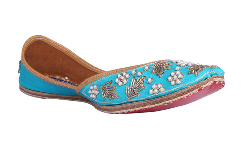 MSC Leather Stylish Fancy Turquoise Flat Juttis For Women