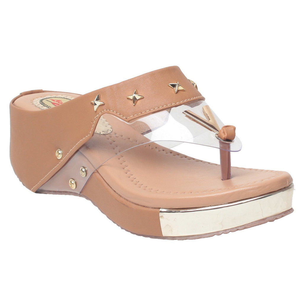 MSC Women Peach Synthetic wedges
