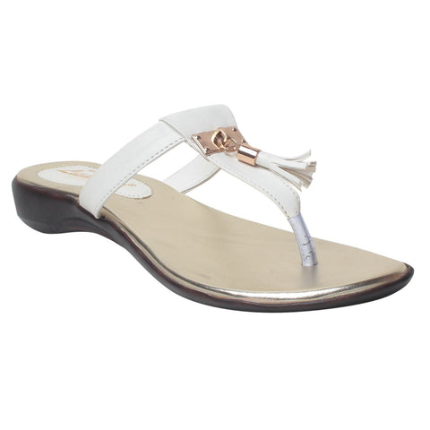 MSC Women White Synthetic Flats