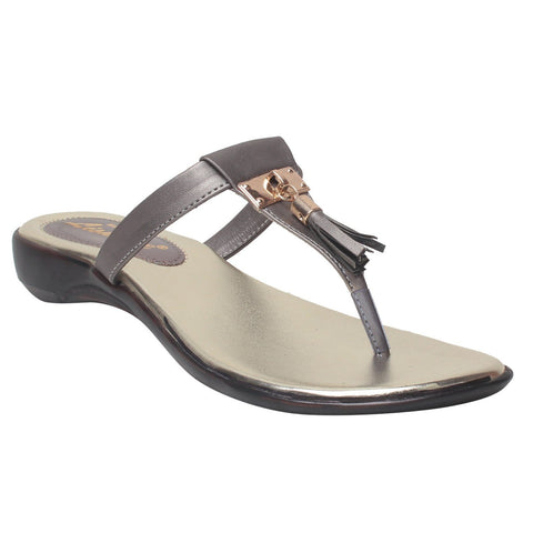 MSC Women Grey Synthetic Flats