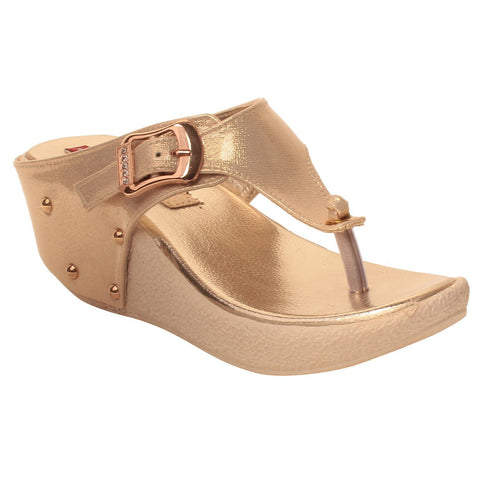 MSC Women Synthetic Gold Sandal
