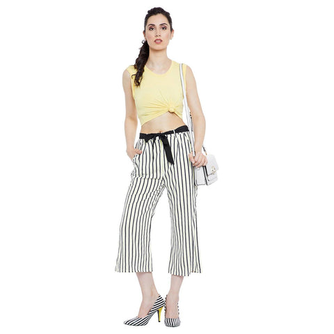 GJ Couture Women's Black & White Striped Polycrepe Three Fourth Length Palazzo with pockets